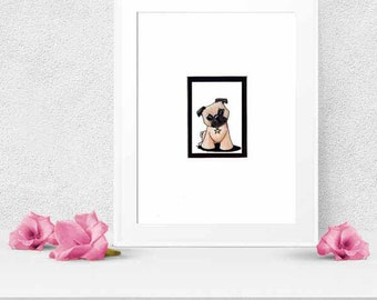 PUG Dog Breed ORIGINAL Art Matted Aceo