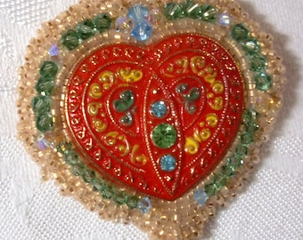 Brooch/Pin: Vintage Reproduction Czech Glass Red Heart Button with Swarovski Crystals, 24K Gold-Lined Opal Seed Beads, & Circle-Style Clasp