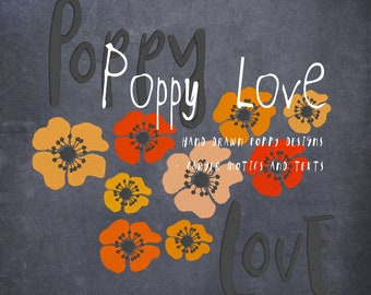 POPPY LOVE - Motifs and Texts with my hand drawn Poppies in Fill stitch Embroidery - 5 designs for embellishment of your textile projects