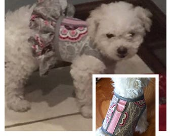 Pink Rose Medallions  Small Dog Harness, dog harnesses, pet clothing, Made in USA