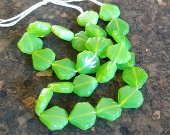 Destash - Czech Glass Shell Beads 14mm, Green Milky Opal, Vertical Hole, Full Strand 25 Qty
