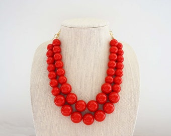 Big Red Beaded Necklace