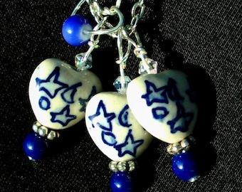 MULTI-HEART Necklace and Earrings SET, Swarovski, Blue Stars, Ceramic Hearts, RedRobinArt