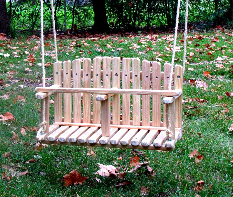 🔎zoom   PINE DOUBLE SWING Kids Wooden Swing Backyard Outdoor Toys
