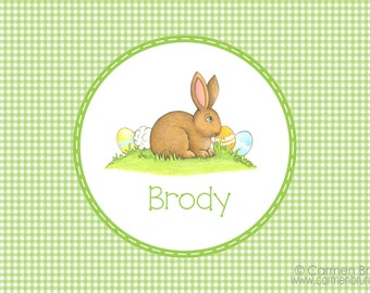 Personalized Easter Placemat,Easter, Bunny, Personalized Placemat, kids placemat, kitchen placemat, monogram, Family placemat