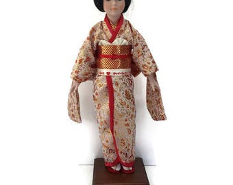 Geisha Doll Japanese Doll Oriental Bisque Doll Asian Woman Red Kimono Large Collectible