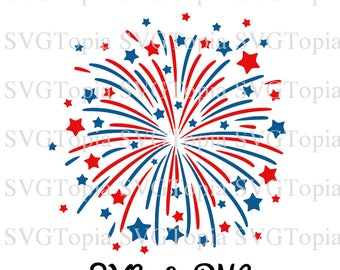 4th of July Fireworks SVG and PNG Clip Art for Die Cut Machines like Cricut and Silhouette Cut File Cuttable File