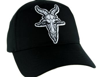 Sabbatic Goat Head Hat Baseball Cap Alternative Clothing Satanic Baphomet - YDS-PA-GOAT-Cap