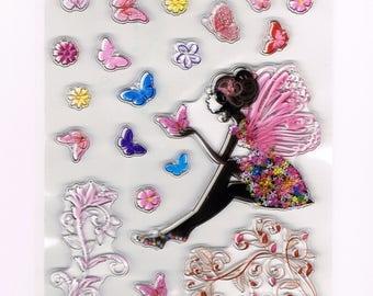 Butterfly Fairy Faerie Clear Cling Stamp Set