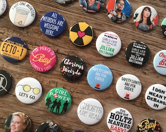 Ghostbusters 2016, Jillian Holtzmann, Abby Yates, Patty Tolan, Erin Gilbert, Fandom Pins, Pocket Mirrors, Bottle Opener, Fridge Magnet