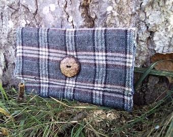 Grey checkered tobacco pouch