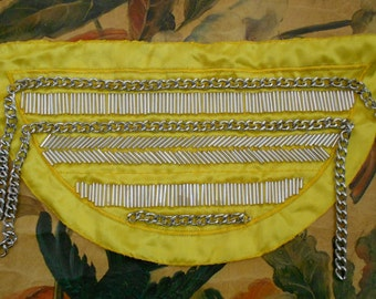 Yellow Silver Beaded Chain Applique
