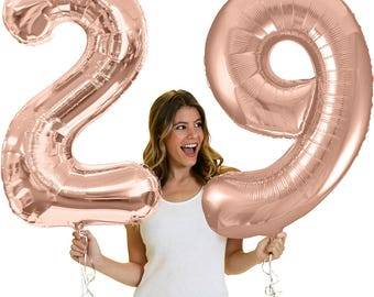 """Giant Rose Gold 29th Birthday Balloons - Mylar 29 Birthday balloons, Pretty Birthday Decorations and supplies, Bday 34"""" number"""