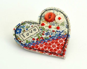 Red love heart brooch, heart pin, heart badge, fabric heart brooch, textile heart brooch, red love heart,  valentine brooch, valentines gift