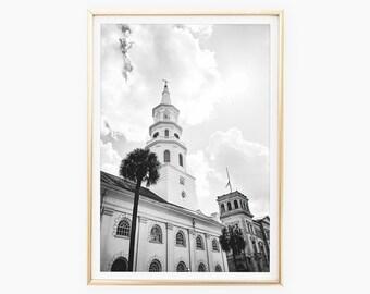 Charleston Print Download, St Michaels Church, Charleston SC Photography, South Carolina Art Prints, Travel Poster, Digital Print Art