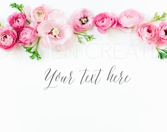 Ranunculus Styled Stock Photography / Product Background /  Banners / Digital Photo