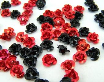 100 Small Rose Cabochons - Aluminum 6 mm x 4 mm