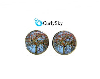 Antique Red Studs Berry Tree Jewelry Antique Tree Studs Berry Tree Earrings Antique Red Stud Earrings Berry Tree Studs Red Berries Studs