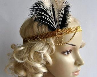 Deco Gold feather flapper Gatsby Headband, Wedding Crystal Headband, Wedding Headpiece Bridal Headpiece, 1920s Flapper headband Black Ivory