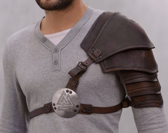 LARP Armor - Leather Pauldron- Valknut: Odin's Symbol of Norse Viking Warriors Shoulder Leather ARMOR handcrafted custom made