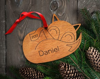 Wood Baby Fox Ornament: Personalized Name, Boy or Girl, Baby's First Christmas 2018, Kids Woodland Animal Cute Sleeping Fox Ornament