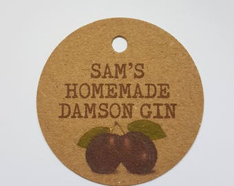 10x Personalised Homemade damson gin tags, handmade tags, bottle tags, wedding favours, gift tags, homemade damson tags, homemade gin, vodka