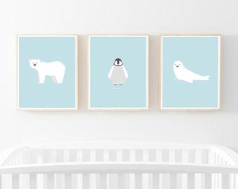 "Nursery Print set of 3 8x10"", Nursery Decor, Nursery Wall Art, Kids Animal Art Print, Digital Download, Kids Wall Art, Nursery Printable Art"