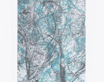 Abstract Art Postcard Print  // A6 Mini Print Modern Art Collagraph Monoprint