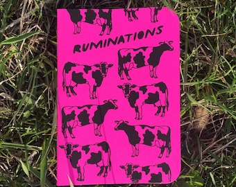 RUMINATIONS Screenprinted Pocket Notebook -- Cow Pink Farm Notebook