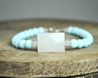 White Marble Bracelet, Beaded Bracelet, Light Turquoise Quartz, Stacking Bracelet, Layering Bracelet, Gemstone Jewelry, Quartz Jewelry