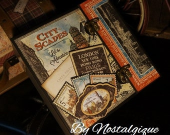 "8 1/2"" x 8 1/2"" City Scapes Graphic 45 Mini Album PDF Tutorial"