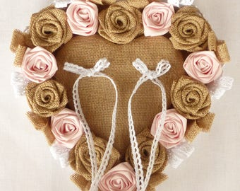 Burlap canvas and pink heart wedding ring
