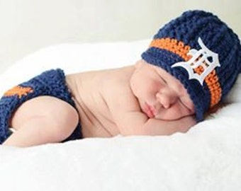 Detroit Tigers Inspired Crochet Newsboy Hat with Patch and Diaper Cover Set / MLB Baby / Baseball Baby
