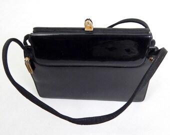 Vintage 1960s Black Waldybag Evening Bag