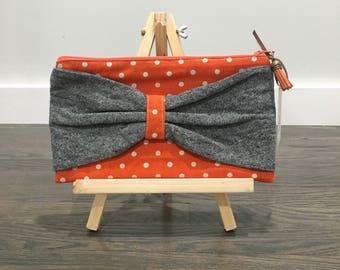 Grey Linen Bow Zipper Pouch Orange Polka Dot