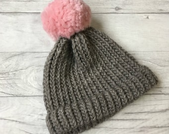 Pink and grey knitted beanie knit hat gift for mom gifrlfriend gift anniversary gift gifts for her chunky knit beanie hat pom pom beanie