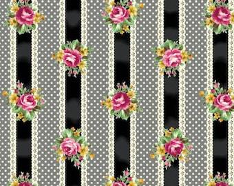 RURU  Ruru Bouquet Tea Party  Cotton Fabric Quilt Gate RU2270-15F Ribbon Stripe in Black