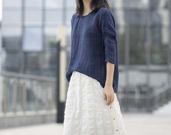 781---Women's Line Gauze Blouse, Blue Linen Tee / Top (Excluding the inner Tank), Linen Tee Shirt, Plus Size, Summer Top.