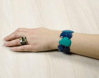 LULA Blue Jean bracelet / Jade Blue / Blue - gem / Tagua / vegetable ivory / natural / ethical / fair trade / woman / Ecuador