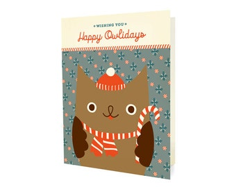 Happy Owlidays Folded Holiday Cards, Box of 10 - Christmas Cards - Wishing You Happy Owlidays - OC1166-BX
