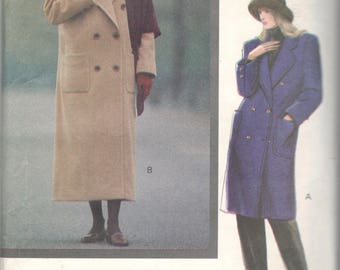 Vogue 7596 1980s Misses Double Breasted Coat and Scarf  Pattern  Womens Vintage Sewing Pattern Size 6 8 10 Bust 30 31 32 UNCUT