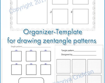 Organizer-Template for drawing zentangle patterns, step-by-step drawing of zentangle patterns.