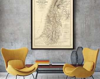 Holy Land map 1872 Map of Palestine Biblical Regions Antique Restoration Style Jerusalem Wall Map Vintage Map Home Decor housewarming Gift