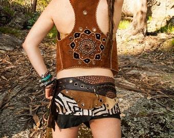 MANDALA Leather  Vest // Handmade Tribal Clothing - Made to Order