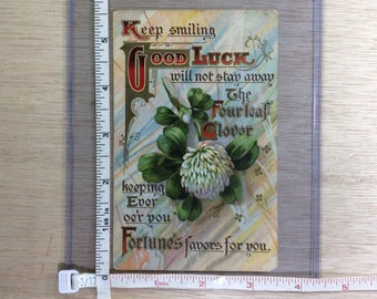 Vintage Post Card Keep Smiling Good Luck Clover Used