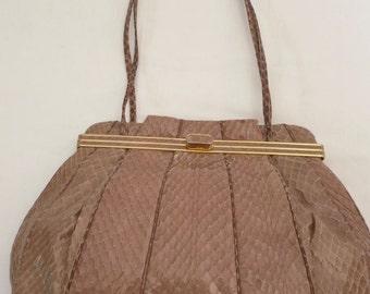 Vintage Judith Leiber Taupe Glazed Snakeskin Handbag