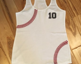Baseball Tank Top with Number