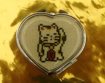 Bag or heart Maneki Neko lucky cat Pocket mirror