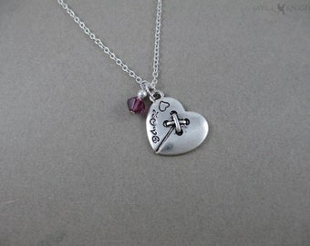 CLEARANCE - Button Heart Charm Necklace - Sewing Necklace - Seamstress Gift - Silver