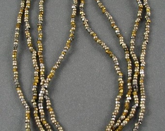 RARE - Antique Steel and Mix Metal Cut and Round Micro Beads - 24 inch strand